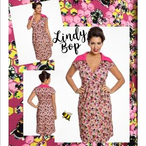 Lindy Bop Elenara Retro Wrap Style Dress Honey Bee